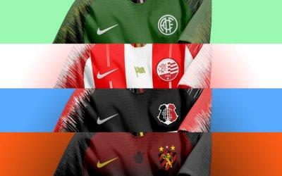 Como seriam os uniformes da Nike para América, Náutico, Santa e Sport