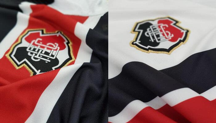 a34534d5372e2 A camisa principal da segunda linha de uniformes da Cobra Coral foi  inspirada no centenário de um jogo clássico. O padrão do Santa Cruz válido  para a ...