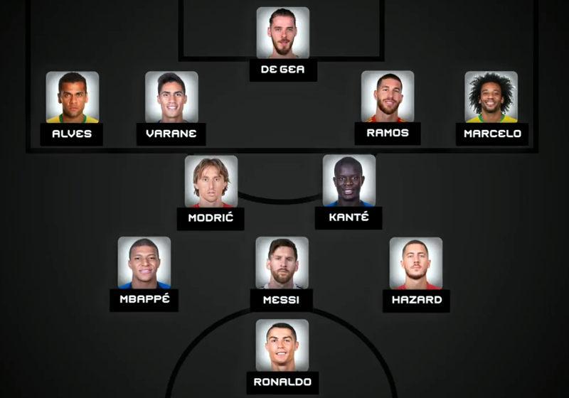 A seleção da Fifa com os 11 melhores na temporada 2017/2018, na formação 4-3-3