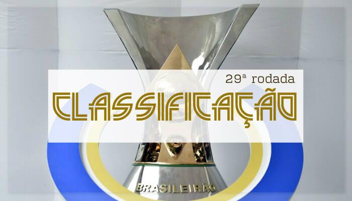 A classificação da Série A do Brasileiro de 2018 após a 29ª rodada