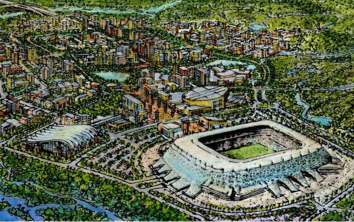 As 4 fases da inexistente Cidade da Copa, com projetos de 2014 a 2025