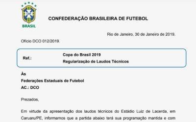 Central garante Copa do Brasil com público após laudo em cima da hora