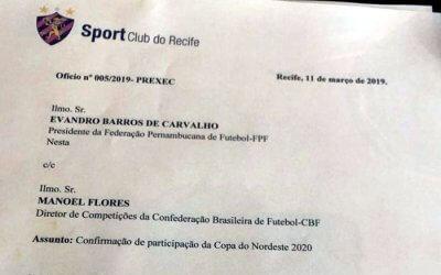 Ofício junto à CBF confirma a volta do Sport à Copa do Nordeste em 2020