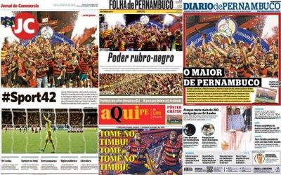 As manchetes dos jornais sobre o título pernambucano do Sport em 2019