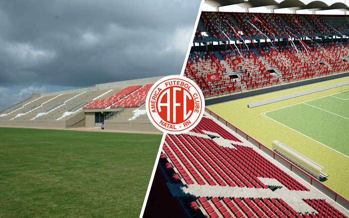 O novo estádio do Nordeste, a Arena América. Por enquanto, com 1 módulo