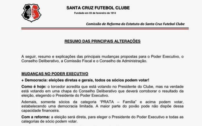 Reforma do estatuto do Santa Cruz visa votos em todas as categorias