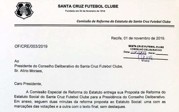 A íntegra do texto sobre a reforma do estatuto do Santa Cruz. Tem 29 páginas