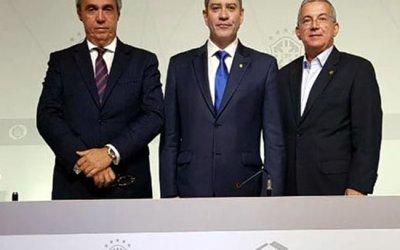 O novo presidente da CBF e o abraço automático de Evandro Carvalho (FPF) e Arnaldo Barros (Sport)