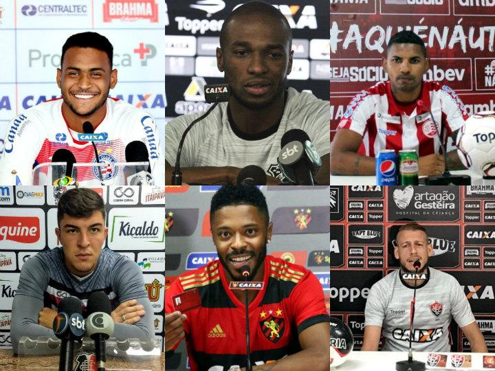 Os backdrops de 19 clubes do Nordeste utilizados nas entrevistas em 2018