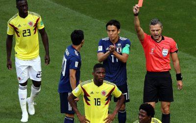 Colômbia sucumbe diante do Japão com expulsão e pênalti em menos de 180s