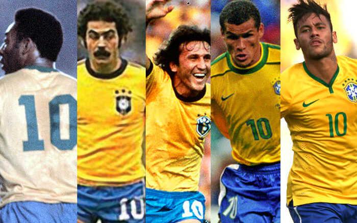 Neymar, novamente o camisa 10 da Seleção Brasileira na Copa. Repete Pelé, Rivellino, Zico e Rivaldo