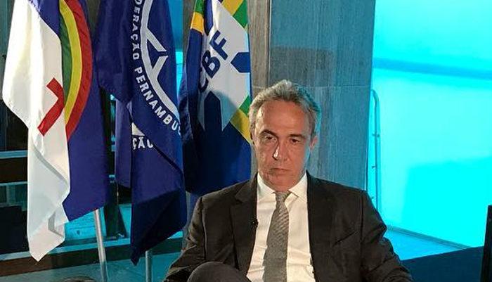Evandro Carvalho, o candidato único na FPF. Serão 11 anos como presidente