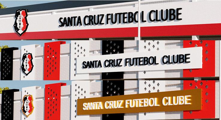 As opções para a nova fachada da sede do Santa Cruz, com escolha popular
