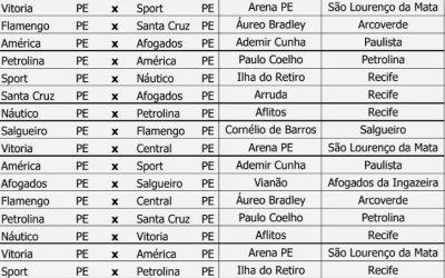 A tabela do Pernambucano de 2019, com 11 jogos da 1ª fase na TV aberta