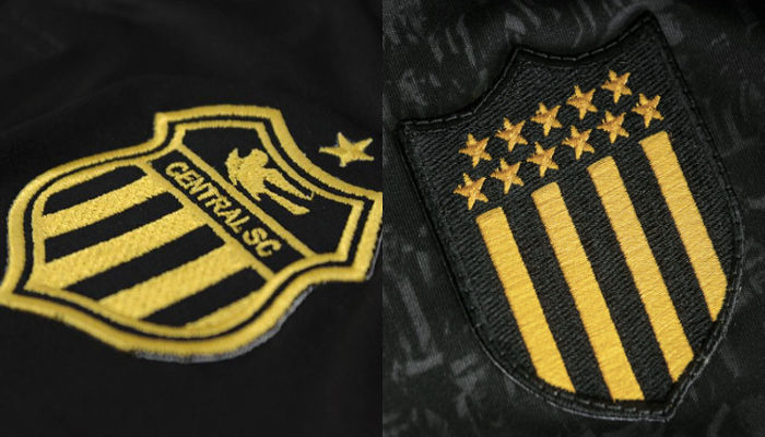 Os detalhes dourados do uniforme do centenário do Central, a la Peñarol