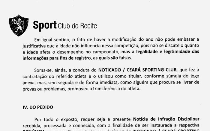 Sport aciona STJD pedindo a perda de pontos do Ceará. Devido à idade de um atleta de 31 anos (ou 33)