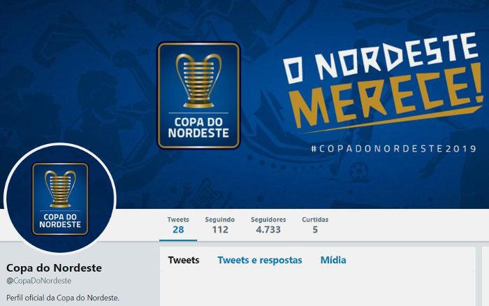 As redes sociais oficiais da Copa do Nordeste, com 6 anos de atraso