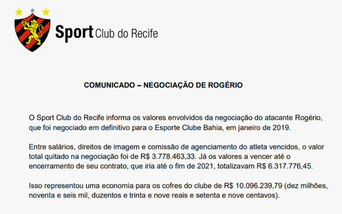 """Sport inicia o portal da transparência com a saída de Rogério: """"R$ 10 milhões"""""""