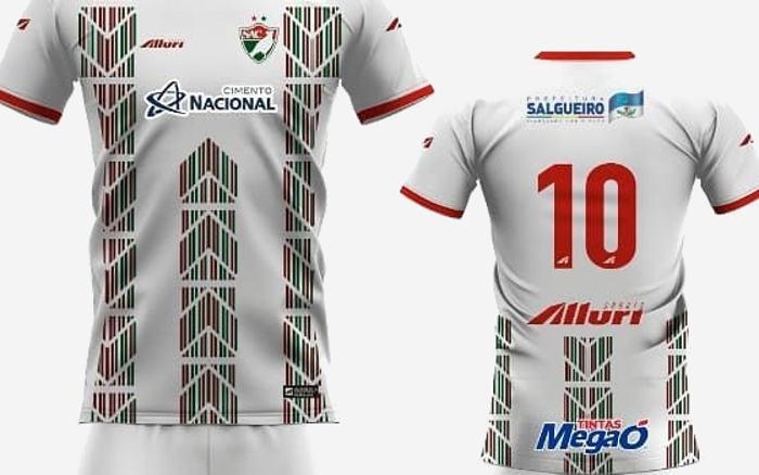 A linha de uniformes do Salgueiro em 2019, via Alluri. Base monocromática