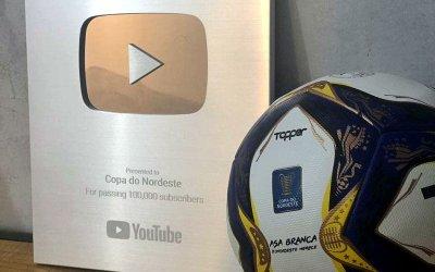 Com 4 meses, canal da Copa do Nordeste recebe placa do Youtube. Evolução a partir dos jogos ao vivo