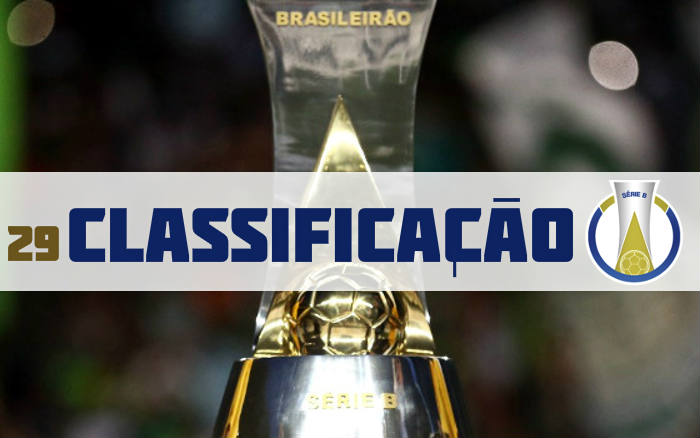 A classificação da Série B de 2019 após a 29ª rodada, com o Sport em 2º lugar