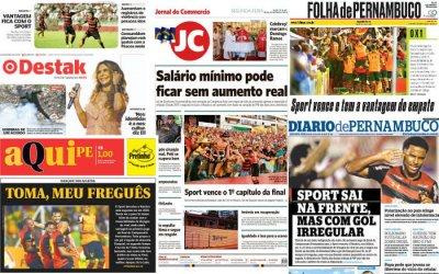 As manchetes do primeiro jogo da final do Pernambucano de 2019