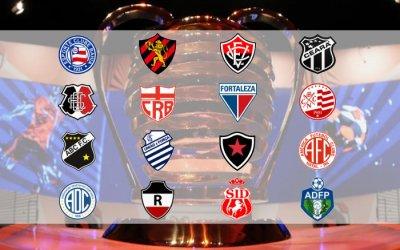 Os 16 clubes na fase principal da Copa do Nordeste de 2020, já com subdivisão de cotas