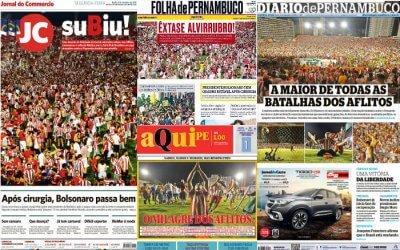 As manchetes dos jornais sobre o acesso do Náutico à Série B de 2020