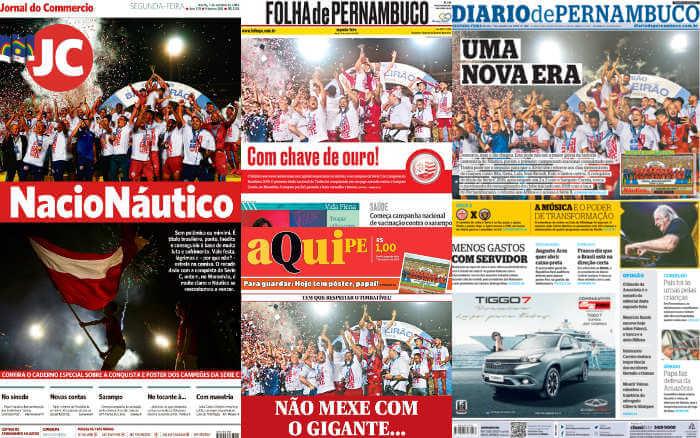 As manchetes dos jornais sobre o título do Náutico na Série C de 2019