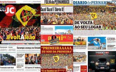 As manchetes dos jornais sobre o acesso do Sport à Série A de 2020