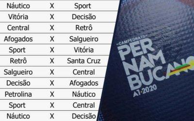 A tabela do Campeonato Pernambucano de 2020, com a grade de televisão