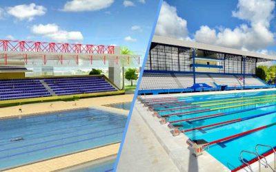 O antes e depois do parque aquático do Santos Dumont, com detalhes olímpicos