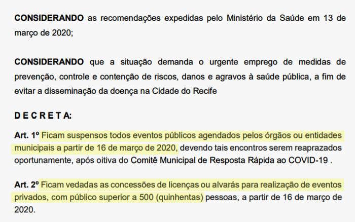 Coronavírus | Prefeitura do Recife suspende eventos (jogos) acima de 500 pessoas