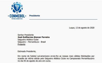 A carta da Conmebol dando parabéns ao Salgueiro pelo título pernambucano