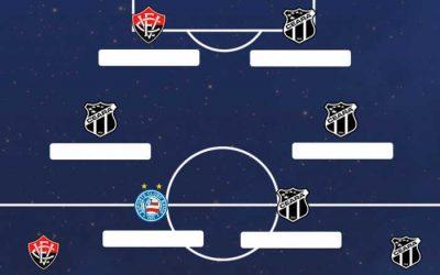 A seleção da Copa do Nordeste de 2020, com 8 jogadores do Ceará, 2 do Vitória (?) e 1 do Bahia