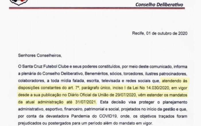 Conselho do Santa amplia mandato do executivo até julho de 2021. Porém, deve acabar antes