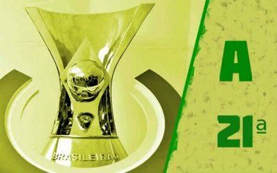 A classificação da Série A de 2021 após a 21ª rodada; nenhuma vitória do NE, de novo