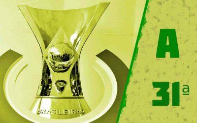 A classificação da Série A de 2020 após a 31ª rodada; Internacional na ponta