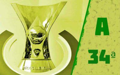 A classificação da Série A de 2020 após a 34ª rodada; Botafogo é o 1º rebaixado