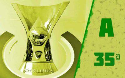 A classificação da Série A de 2020 após a 35ª rodada; sem nordestinos no Z4