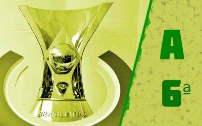 A classificação da Série A de 2021 após a 6ª rodada; 2 vitórias do NE e 2 times no G4