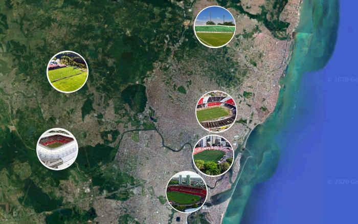 A tabela do Nordestão Sub 20 de 2020; sede no Recife com jogos em 5 estádios e 1 CT