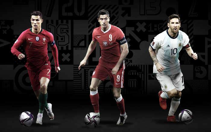 CR7, Lewandowski e Messi, os finalistas do The Best. Em 30 edições, 43 jogadores
