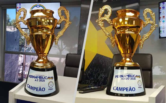 As taças dos campeões pernambucanos da Série A2 e do Sub 20. Ou do Sub 20 e da Série A2?