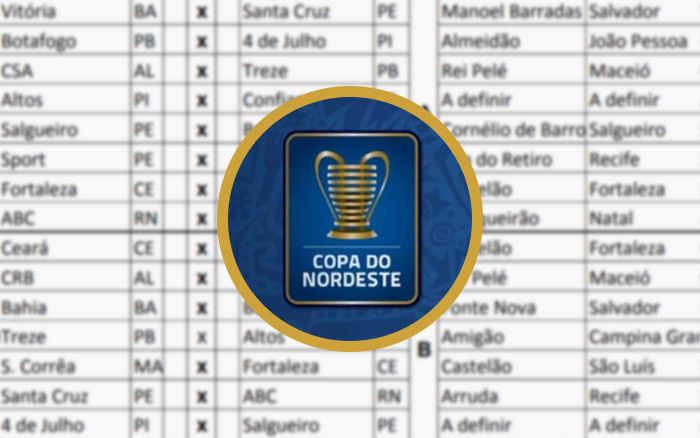 A tabela detalhada da Copa do Nordeste de 2021, já com 16 jogos na TV aberta