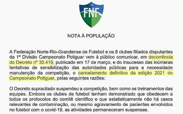 Campeonato Potiguar é cancelado pela Covid-19. Ou seria apenas pressão política?