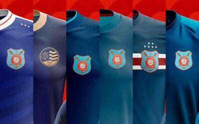 Após 300 ideias, as seis versões finalistas para o uniforme azul do Náutico em 2021