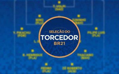 O ranking de jogadores na seleção da rodada do Brasileirão 2021, via voto popular