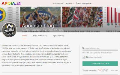 Campanha de apoio financeiro ao blog, com jornalismo 100% independente