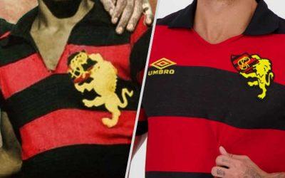 A camisa retrô sobre o cinquentenário do Sport, com o leão fora do escudo. Versão 2.0